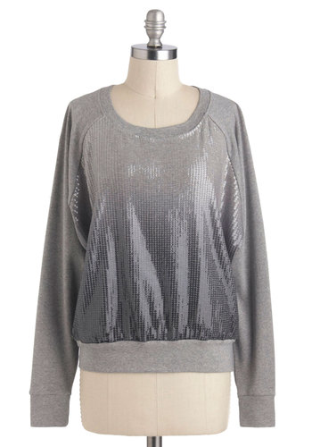 Fashion Favors the Ombre Top - Grey, Black, White, Sequins, Casual, Long Sleeve, Cotton, Mid-length