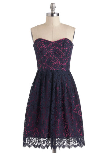 Blueberry Extraordinary Dress by Corey Lynn Calter - Short, Blue, Pink, Bows, Lace, Pockets, Party, A-line, Strapless, Sweetheart, Graduation