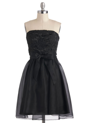 From Premiere To There Dress by Eva Franco - Black, Solid, Embroidery, Formal, Luxe, Ballerina / Tutu, Strapless, Long, Chiffon, Belted, Wedding, Cocktail, Holiday Party, Film Noir, Vintage Inspired, Prom, Bridesmaid
