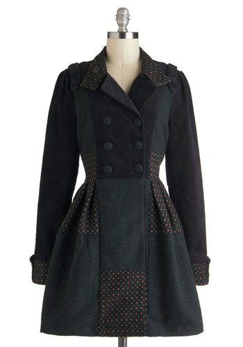 In the Flower Patchwork Coat - Green, Brown, Buttons, Pleats, Long Sleeve, Cotton, Long, 3, Black, A-line, Winter