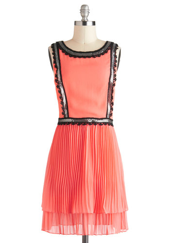 Plenty by Tracy Reese Fete Noticed Dress by Plenty by Tracy Reese - Pleats, Sequins, Vintage Inspired, Luxe, Sheath / Shift, Sleeveless, Coral, Exposed zipper, Trim, Party, Short, Cocktail, 20s, Prom, Tiered