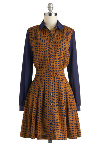 Waffle of Surprises Dress by Louche - Mid-length, Tan, Blue, Print, Buttons, Pockets, Casual, Vintage Inspired, 70s, Shirt Dress, Long Sleeve, Collared, Work, International Designer