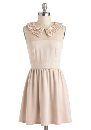 Spiced Almond Dress by Darling - Sheer, Short, Cream, Solid, Beads, Pearls, Party, A-line, Sleeveless, Collared, Vintage Inspired, Luxe