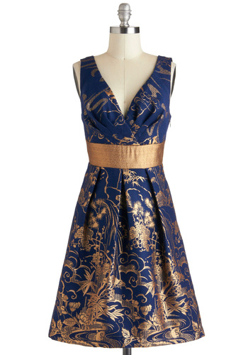 Gilded Paradise Dress by Eva Franco - Gold, Print, Luxe, A-line, Mid-length, Blue, Cocktail, Sleeveless, V Neck, Holiday Party, Statement