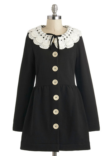 Victorian Tea Coat by Knitted Dove - Black, White, Buttons, Long Sleeve, Lace, 2, Party, Casual, Vintage Inspired, French / Victorian, Fall, Long