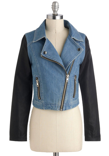 Up to Single Speed Jacket - Cotton, Denim, Faux Leather, Short, Blue, Black, Solid, Urban, 2, Exposed zipper, Pockets, Fall