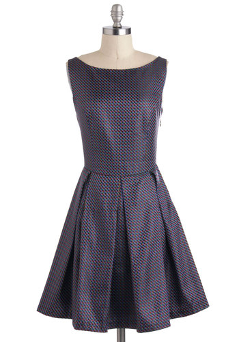 Beauty, Squared Dress by Louche - Mid-length, Backless, Bows, Pleats, Cocktail, Fit & Flare, Sleeveless, Purple, Multi, International Designer