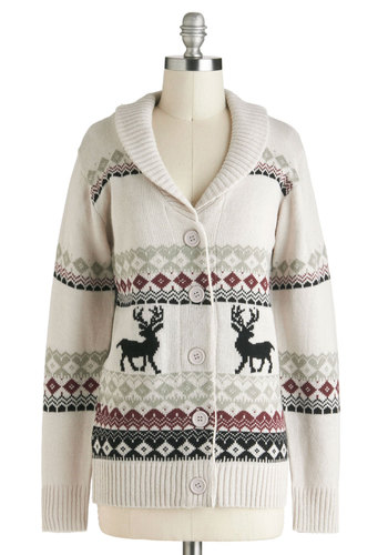 Take Caribou Cardigan in Doe - Red, Black, Buttons, Knitted, Casual, Long Sleeve, Winter, Cream, Holiday, International Designer, Mid-length