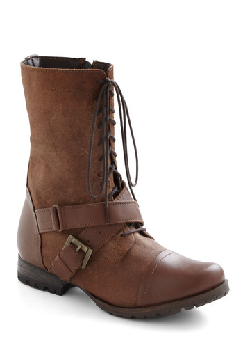 Pioneer And Far Boot - Leather, Tan, Solid, Buckles, Safari, Steampunk, Flat, Lace Up, Tis the Season Sale, Variation