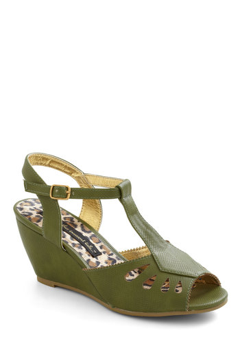 Anise and That Wedge in Green by Bait Footwear - Mid, Green, Cutout, Wedge, Vintage Inspired, Tis the Season Sale, Faux Leather