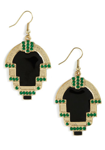 Through the Threshold Earrings - Black, Green, Gold, Rhinestones, Statement, Party, Cocktail