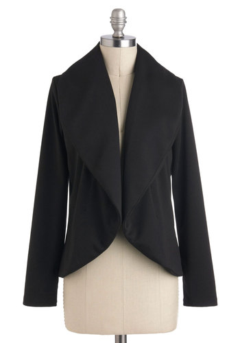 Easygoing Essential Cardigan - Black, Solid, Mid-length, Casual, Minimal