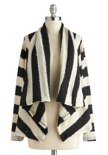 Weekend Crosswords Cardigan - Black, White, Stripes, Casual, Long Sleeve, Fall, Mid-length