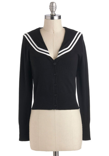 Land Haute! Cardigan - Black, White, Buckles, Nautical, Long Sleeve, Jersey, Work, Casual, Vintage Inspired, Short, Black, Long Sleeve
