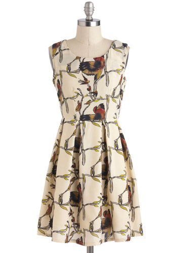 Afternoon Flap Dress - Print with Animals, Short, Cream, Multi, Pleats, Casual, A-line, Sleeveless, Bird, Woodland Creature