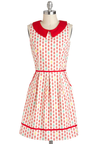 All Eyes on Unique Dress in Fire Hydrant - Novelty Print, Peter Pan Collar, Pockets, Casual, A-line, Sleeveless, Exclusives, Mid-length, Cotton, Collared, Multi, Red, Yellow, Blue, White, Tis the Season Sale