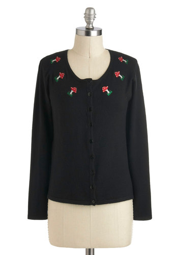 Thank You Very Mushroom Cardigan - Black, Red, Green, White, Buttons, Embroidery, Casual, Mushrooms, Long Sleeve, Short, Novelty Print, Vintage Inspired, 50s
