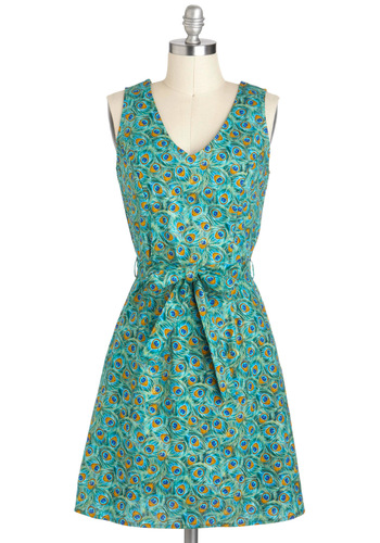 Prized Plumage Dress - Green, Multi, Belted, Casual, A-line, Sleeveless, Spring, Exclusives, Cotton, Mid-length, V Neck, Gifts Sale