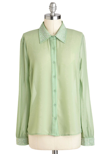 Pistachio I See? Top - Green, Buttons, Party, Long Sleeve, Sheer, Mid-length, Mint, Rhinestones