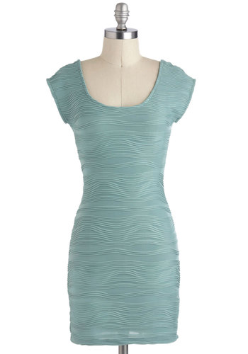 Ripple Tide Dress in Seafoam - Solid, Party, Short, Blue, Shift, Cap Sleeves, Girls Night Out, Urban, Mint, Scoop