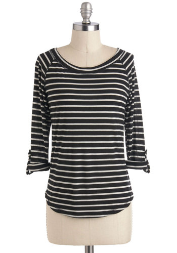 Line Byline Top - Cream, Black, Stripes, Casual, Long Sleeve, Mid-length, Travel