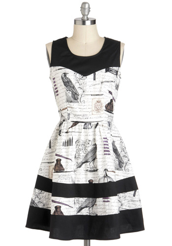 Nevermore Lovely Dress - Black, White, Novelty Print, Party, Vintage Inspired, 50s, A-line, Sleeveless, Exclusives, Mid-length, Cotton, Buttons, Tis the Season Sale