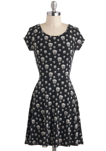 Skull It Like I See It Dress - Black, Novelty Print, Casual, A-line, Short, White, Cutout, Cap Sleeves