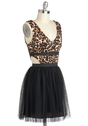 Vixen It Up Dress - Black, Brown, Animal Print, Cutout, Girls Night Out, Urban, A-line, Sleeveless, Short, V Neck, Backless, Twofer, Prom, Party, 80s