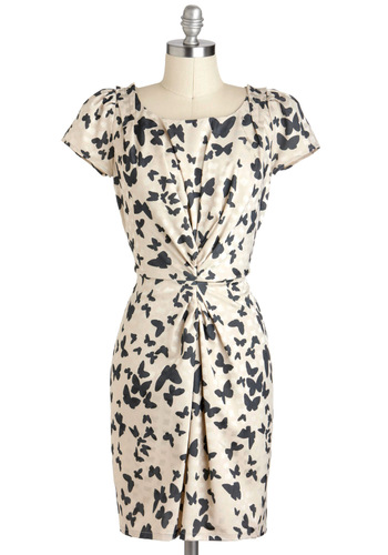 Butterfly Exhibition Dress by Yumi - Black, Print with Animals, Party, Shift, Short Sleeves, Tan / Cream