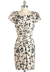 Butterfly Exhibition Dress by Yumi - Black, Print with Animals, Party, Sheath / Shift, Short Sleeves, Tan / Cream
