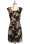 Hanalei Bay by Night Dress - Floral, Mid-length, Belted, Work, Sheath / Shift, Cap Sleeves, Vintage Inspired, Casual, Multi