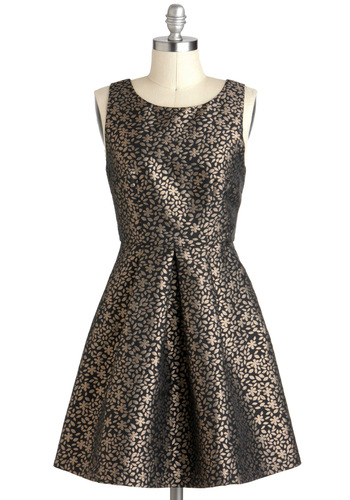 Floral Eyes On You Dress - Black, Sleeveless, Short, Cutout, Cocktail, Fit & Flare, Floral, Gold, Pleats, Holiday Party, Tis the Season Sale