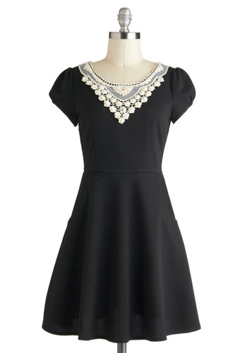 Pearl of the Moment Dress - Black, Lace, A-line, Short Sleeves, Short, White, Pockets, Party, 40s, Beads