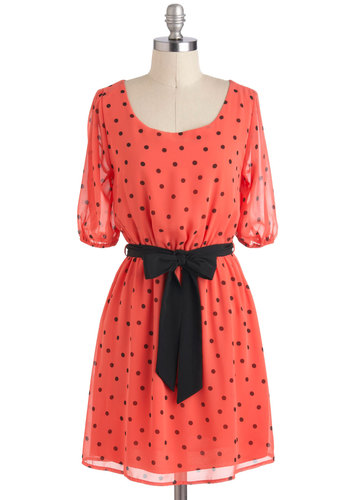 Bagels and Luxe Dress - Black, Polka Dots, A-line, Short Sleeves, Sheer, Mid-length, Coral, Belted, Party, Casual