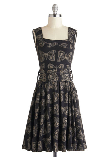 Guest of Honor Dress in Moths by Effie's Heart - Black, Tan / Cream, Print with Animals, Pockets, Belted, Casual, Sleeveless, Mid-length, Fit & Flare