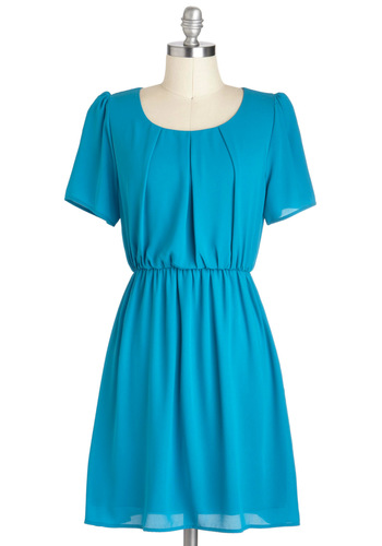 Cozumel and Effect Dress - Blue, Solid, Casual, A-line, Short Sleeves, Mid-length, Neon, Work, Minimal