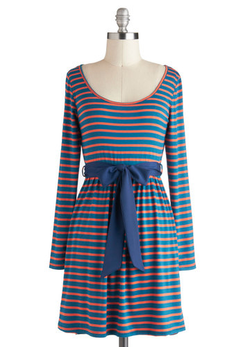 Sunset the Tone Dress - Short, Orange, Blue, Stripes, Cutout, Belted, Casual, Sheath / Shift, Long Sleeve