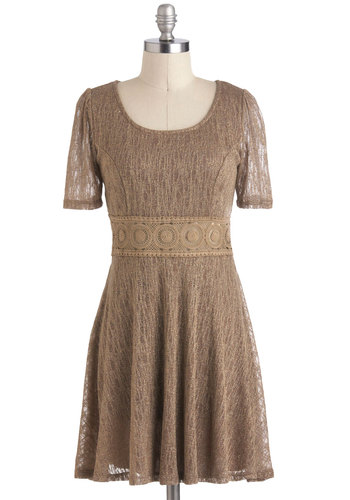 Oculus is More Dress - Brown, Solid, Lace, A-line, Short Sleeves, Short, Casual