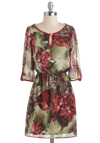 Perennial Poise Dress - Multi, Floral, A-line, 3/4 Sleeve, Short, Red, Green, Brown, Casual
