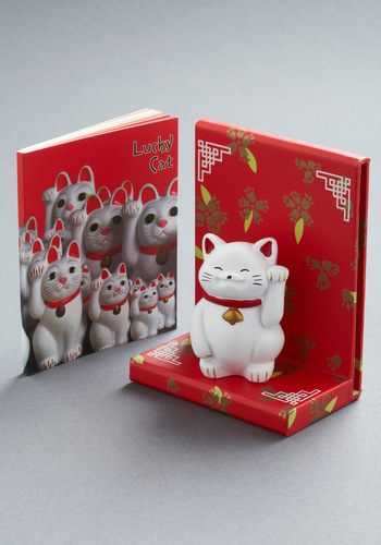 Lucky Cat Figurine by Chronicle Books - White, Red, Print with Animals, Dorm Decor, Handmade & DIY