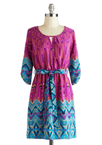 Bright Up the Night Dress - Short, Multi, Blue, Pink, Print, 3/4 Sleeve, Belted, Casual, Statement, Boho