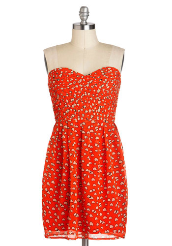 Follow Your Heart Dress - Red, Novelty Print, Party, Strapless, Mid-length, White, Sweetheart, Pleats, Tis the Season Sale
