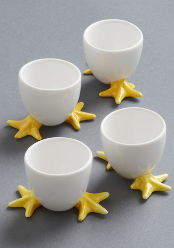 Shell-ebrate Egg Cup Set - White, Yellow, Quirky, Tis the Season Sale