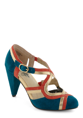 Petunia Heel in Teal by Seychelles - Mid, Leather, Blue, Coral, Luxe, Holiday Party, Gold, Variation, Special Occasion