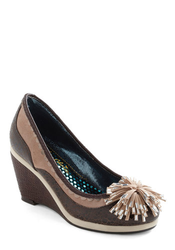 Firework It Wedge by Irregular Choice - Brown, Tan / Cream, Poms, Wedge, Mid, Leather, Party, Work, International Designer