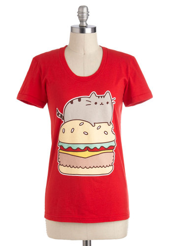 Pusheen Indulgence Tee - Red, Red, Yellow, Green, Brown, Tan / Cream, Novelty Print, Casual, Kawaii, Short Sleeves, Mid-length, Jersey, Cotton, Print with Animals, Crew