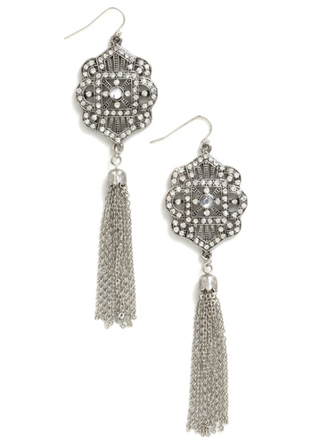 Have This Glance Earrings - Silver, Rhinestones, Tassels, Vintage Inspired, 20s, Luxe, Statement, Holiday Party