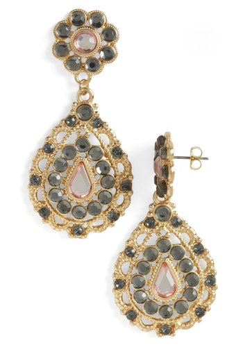 Glamour of the Gardens Earrings - Pink, Gold, Grey, Rhinestones, Luxe, Statement, Formal, Prom, Holiday Party, Tis the Season Sale