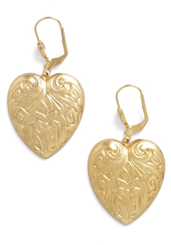 A Gleam in My Heart Earrings by Sweet Evie - Gold, Fairytale