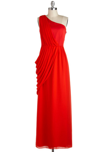 Ember So Beautiful Dress - Red, Solid, Special Occasion, One Shoulder, Pleats, Vintage Inspired, Chiffon, Long, Prom, Maxi